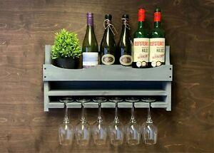 Wine Shelf Rack Rustic Grey Wooden - Bottle & 6 Glass Holder Home Bar (6GR)EM