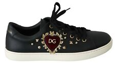 DOLCE & GABBANA Shoes Black Leather Gold Red Heart Sneakers Womens EU39 / US8.5