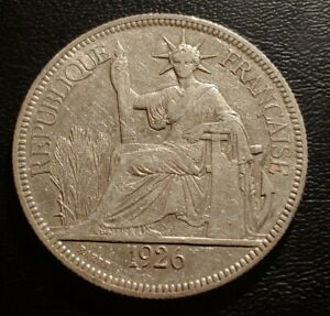 French Indo-China, 1926 A, 1 Piastre Silver Coin.