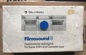 Bell & Howell Filmosound 8 Super 8 8mm & Cassette Splicing Kit + 3 Spare Reels