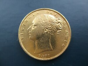 1871 QUEEN VICTORIA , YOUNG HEAD SHIELD BACK , FULL SOVEREIGN ,GOLD COIN