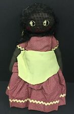 Antique Black Americana Cloth Rag Primitive Folk Art Stockinette Doll 16""