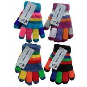 New Children Kids Unisex Magic Stretch Multi Colour Stripes Winter Warm Gloves