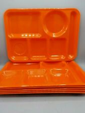 6 Vintage Texas Ware Orange Melamine School Lunch Trays Cafeteria Buffet Divided