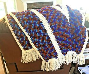 Crochet Afghan Granny Throw Blanket 5 Paneled Brown Rust Purple Blue Patterned