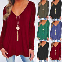 Women Autumn V-Neck Loose Casual Swing Long Sleeve T-Shirt Blouse Tops Pleated