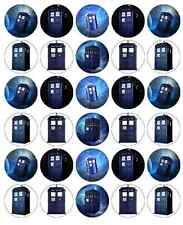 30 x Dr Who Tardis Edible Cupcake Toppers Wafer Paper Fairy Cake Topper