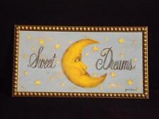 "Grace Pullen Sweet Dreams Wall Plaque Moon & Stars EXC 12x22"""