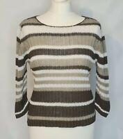 Vintage Marco Pecci Women's Khaki Striped Knit Jumper Top Size Small |3/4 Sleeve