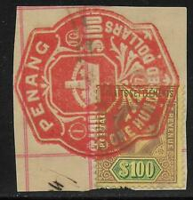 Straits Settlements stamps 1902 SG 122 or 140 Fiscal Used $100 stamp VF Scarce!