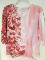 Christopher & Banks Womens Petite Medium 3/4 slv Heart Top Pink Red Sequins