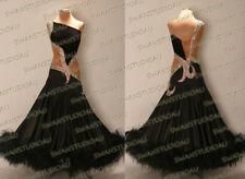 A NEW READY TO WEAR BLACK SATIN BALLROOM DANCE DRESS SIZE:6-8 WB3849
