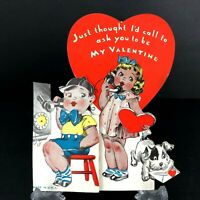 Vtg Antique Telephone Valentines Card 1930s 40s Phone Boy Girl Call Boy Girl Dog