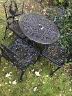 Garden Table And 4 Chairs Black Vintage Bistro Patio Furniture Set Aluminium