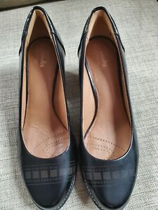Clarks Black Leather 13285 Dress Casual Block Heel Shoes Women's