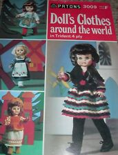 Doll's Clothes Around The World Vintage Knitting Pattern Book Patons 3009 4ply