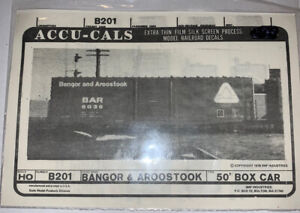 ACCUCALS HO DECAL-BANGOR & AROOSTOOK/BAR 50' BOX CAR-LATER TRIANGLE HERALD-B201