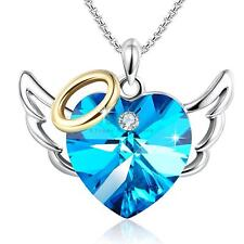 BLUE HEART PENDANT NECKLACE - WOMEN LADY WIFE MOM DAUGHTER BIRTHDAY GIFTS