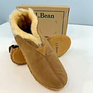 Men's LL BEAN Suede Wicked Good Ankle Boot Shearling SLIPPER Lamb Fur 9 W EE