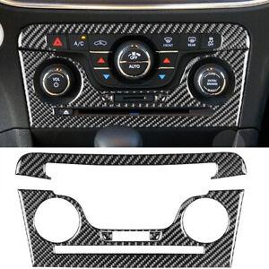 4PCS Carbon Fiber CD AC Console Interior Cover Trim For Dodge Charger 2011-14