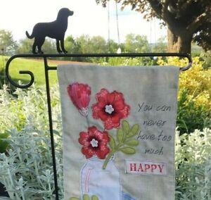 Puppy Dog Flag Holder Hook Stand Garden Heavy Duty Black Metal Outdoor Amish USA