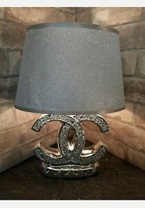 Crushed Diamond Silver LED Bling Table Lamp Shade Glitter romany sparkly