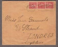 1932 cover 3 x 50c France Paris to Miss Jane Samuels 84 The Strand London