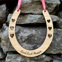 Good Luck Personalised Oak Wooden Horseshoe Wedding Day Gift For Bride New Job