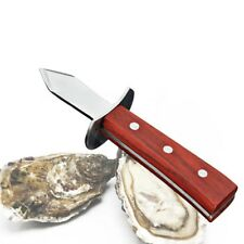 Oyster Knife Opener Stainless Steel Shucker Shucking Scallop Shellfish wooden
