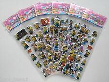 BUY 5 GET 5 FREE Despicable Me Puffy Foam Stickers Minions Party Reward Favour