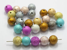 """100 Mixed Color Stardust Acrylic Round Beads 10mm(3/8"""") Spacer Finding"""
