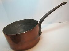 Old Copper Pot with Cast Iron Handle large heavy well made three lrg rivets