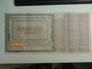 BUONO DEL TESORO 5% DI LIRE 500 - Serie XLII - 1943 SCADENZA 1951 1-224