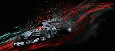 Automotive Motorsport Car Art. MERCEDES F1 MICHAEL SCHUMACHER large giclee print