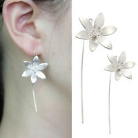 Elegant Silver Plated Lotus Flower Dangle Hook Earrings For Women Jewelry