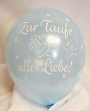 5 Luftballons Zur Taufe alles Liebe HELLBLAU, Qualatex, ca. 30 cm