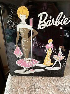 vintage Barbie case, books, furniture