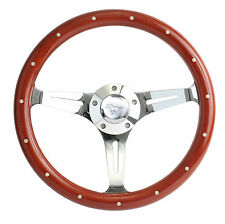 "1965 to 1991 Ford Mustang 15""  Mahogany & Chrome Steering Wheel, Horn, Full Kit"