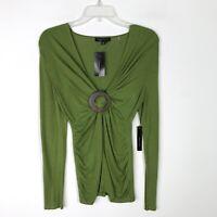 BCBGMaxAzria Green VNeck Long Sleeve Knit Blouse Ruched NWT - Medium M