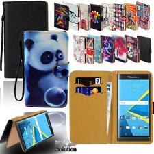 Flip Leather Wallet Stand Cover Phone Case For BlackBerry Smartphones + Strap