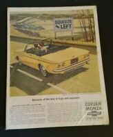 "Vintage Chevrolet Monza Automobile Car Advertisement 1960's 13"" Paper Ad Sign"