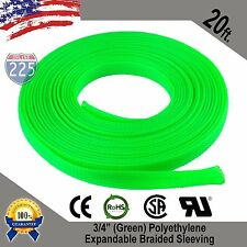 """20 FT 3/4"""" Green Expandable Wire Cable Sleeving Sheathing Braided Loom Tubing US"""