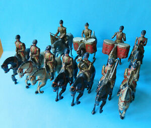 11 Vintage old Britains 54mm painted metal mounted gold band toy soldier figures
