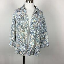 Studio Works Petites PXL Blouse Shirt Paisley Button Up 3/4 Sleeve Stretch