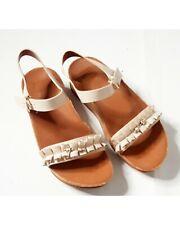 Fitflop Strap Sandals Beige Leather Frill Stud St Slingback Sandals Women's US 8
