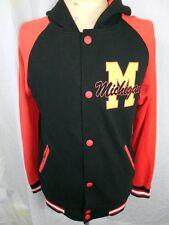Vintage Fleecy Red Black Michigan USA Collegiate Poly/Cotton Sweatshirt Jacket M