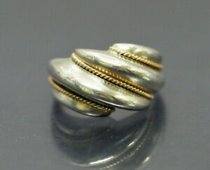AUTHENTIC TIFFANY&CO. STERLING SILVER 925 x Au750 GOLD 4.9g WIDE RING Size 6  NR