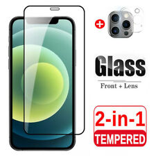 For Apple iPhone 12 Pro Max Full Cover Tempered Glass + Camera Lens Protector