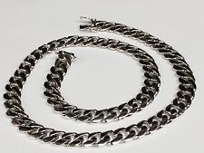 """14k White Gold Miami Cuban Curb Link 30"""" 10.5 mm 196 Grams Chain/necklace"""