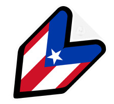 ## JDM DRIVER BADGE PUERTO RICO RICAN Car Decal Flag not vinyl sticker ##